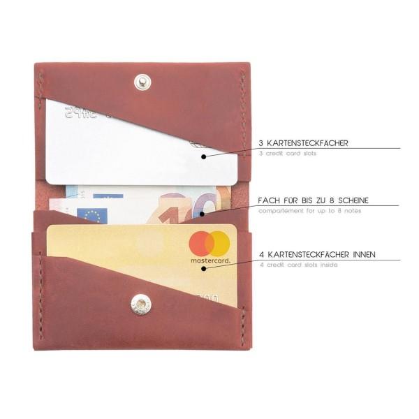 Kreditkarten-Etui Leder Herren Marlin rot antik