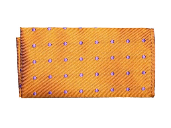 Einstecktuch orange mit lila Punkten