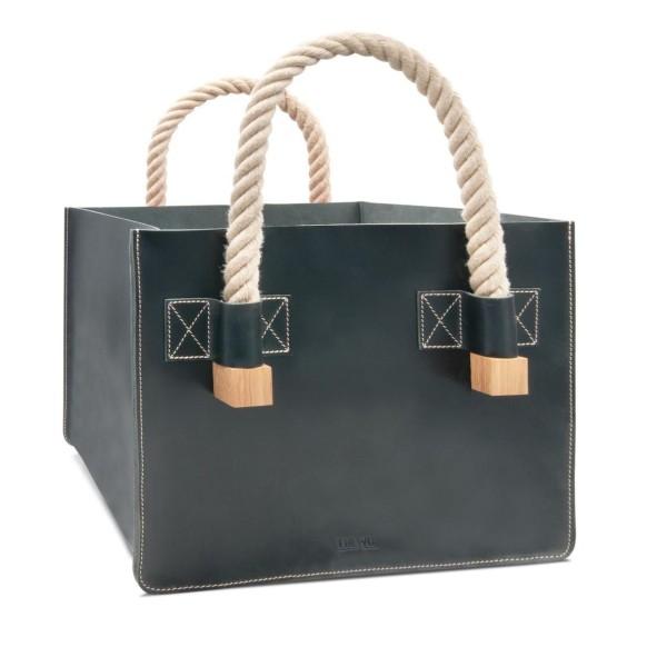 Designer Kaminholztasche aus Leder in schwarz