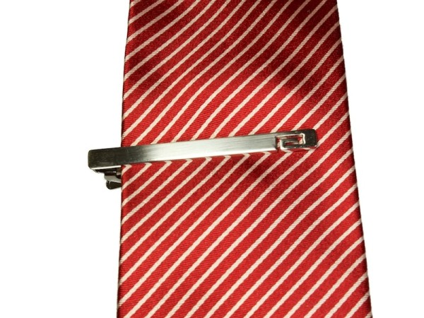 Krawattennadel Krawattenklammer silber mit Muster