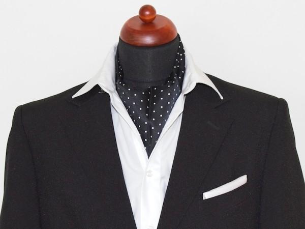 Krawattenschal schwarz mit Punkten Ascot