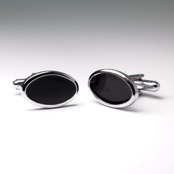 Ovale Manschettenknöpfe in schwarz mit silbernem Rand