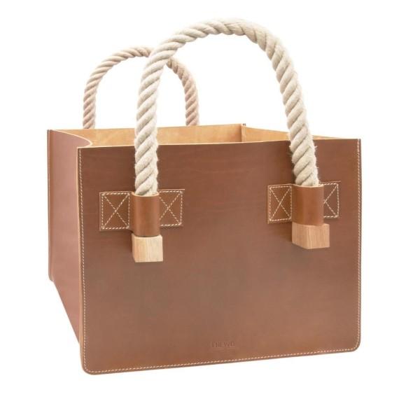 Designer Kaminholztasche aus Leder in caramel